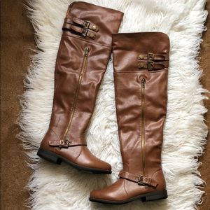 BROWN FAUX LEATHER OTK BOOTS